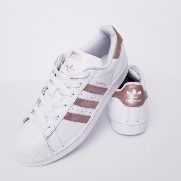 637b29d3849 adidas Shoes - Adidas Superstar size 7 Rose Gold stripes.